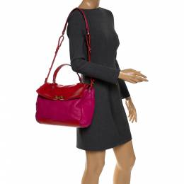 Marc By Marc Jacobs Fuchsia/Red Leather Bob's Memphis Top Handle Bag 287390