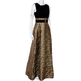 Max Mara Black Velvet & Embossed Lurex Jacquard Draped Dress S 286509