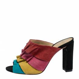 Alexandre Birman Multicolor Suede Ruffled Sandals Size 35 287240