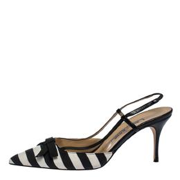 Manolo Blahnik Black/White Stripe Canvas and Leather Galop Halter Sandals Size 41 287238