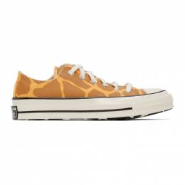 Converse Brown and Yellow Giraffe Chuck 70 OX Low Sneakers 167810C