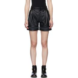 Chloe Black Textured Leather Shorts CHC20UCS01204