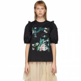 Moncler Genius 4 Moncler Simone Rocha Black Floral Print Puff Sleeve T-Shirt F109W-8C703-10-8390X