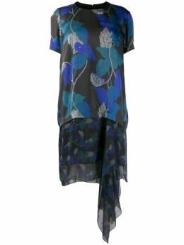 Sacai платье асимметричного кроя с принтом 2005091