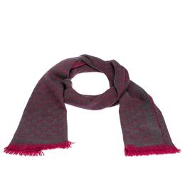 Gucci Pink Monogram Wool Jacquard Scarf 287178