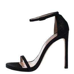 Stuart Weitzman Black Textured Suede Ankle Strap Open Toe Sandals Size 38 287362