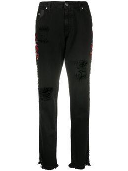 John Richmond зауженные джинсы с вышивкой RWP20176JE