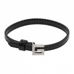 Gucci Black Patent Leather G Detail and Crystals Bracelet 623237 J1784