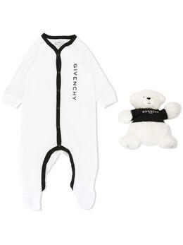 Givenchy Kids комплект из комбинезона и плюшевого медведя с логотипом H9K02810B
