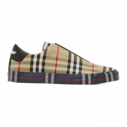 Burberry Beige Contrast Check Markham Sneakers 8009885