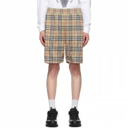 Burberry Beige Vintage Check Technical Twill Shorts 8026469