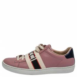 Gucci Pink Leather And Elastic Ace Band Low-Top Sneakers Size 36 287538