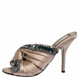 No. 21 Beige Satin Embellished Cipria Mule Sandals Size 36 287532