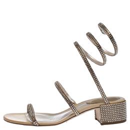 Rene Caovilla Beige Satin Crystal Embellished Carry Snake Sandals Size 35 287537