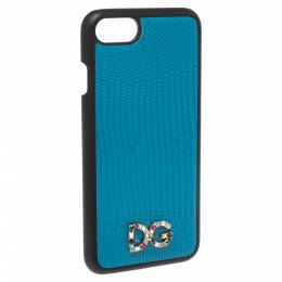 Dolce&Gabbana Blue Lizard Effect Leather Crystal Logo iPhone 7 Cover 287605