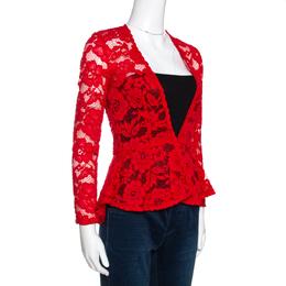 Ch Carolina Herrera Red Floral Lace Jacket S 287015