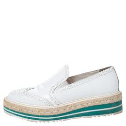 Prada White Brogue Leather Espadrille Platform Flat Loafer Size 38.5 287493