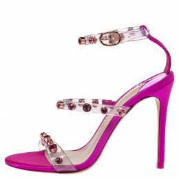 Sophia Webster Fuchsia PVC and Satin Ankle Strap Sandals Size 37 287770