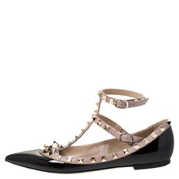 Valentino Black Patent Leather Rockstud Ballet Flats Size 37 287487