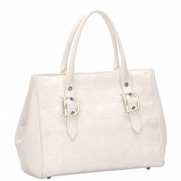 Dior White Cannage Leather Tote Bag 286959