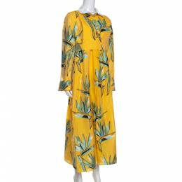 Fendi Yellow Silk Jacquard Birds of Paradise Flower Dress M 287033