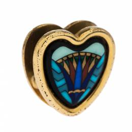 Frey Wille Vintage Blue Fire Enamel Gold Plated Heart Pendant 287585
