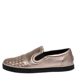 Bottega Veneta Metallic Gold Rose Intrecciato Leather Slip-on Sneakers 39 287768