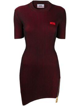 GCDS платье мини в рубчик с нашивкой-логотипом SS20W020031