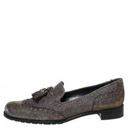 Stuart Weitzman For Russell & Bromley Black/Gold Lame Fabric Tassel Detail Slip On Loafers Size 38 287786