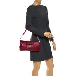 Cartier Red Leather and Python Shoulder Bag 287722