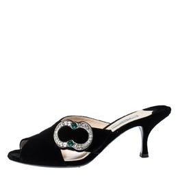 Prada Black Velvet Crystal Embellished Open Toe Mules Size 40.5 287755