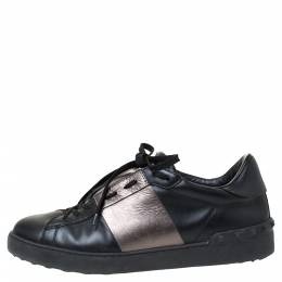 Valentino Black And Metallic Grey Band Leather Open Low Top Sneakers Size 41 287762