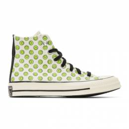 Converse Off-White and Green Happy Camper Chuck 70 High Sneakers 167637C