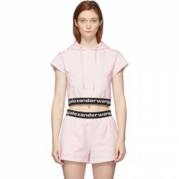 T By Alexander Wang Pink Stretch Logo Cap Sleeve Hoodie 4CC1201106
