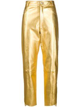 Manokhi укороченные брюки с эффектом металлик SS20MANO257DOMAGOLDA342