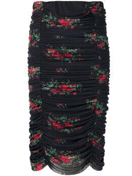 Ganni юбка с цветочным принтом и сборками T26573457