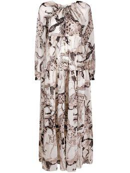 Stella McCartney ярусное платье макси с принтом S7AD10840