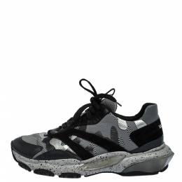 Valentino Multicolor Leather, Suede And Mesh Camouflage Bounce Sneakers Size 41 287740