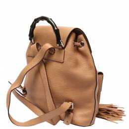 Gucci Brown Leather Tassel Bamboo Backpack 287839