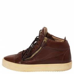 Giuseppe Zanotti Design Brown Leather Double Zip Lace Up Sneakers Size 43 287760