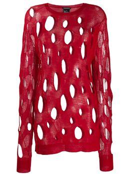 Ann Demeulemeester свитер с эффектом потертости 20012626258039