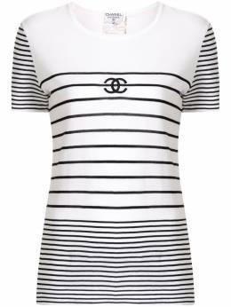 Chanel Pre-Owned футболка 1995-го года в полоску с логотипом CC 95PP04540W02219B0537