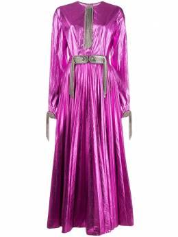Christopher Kane декорированное платье с плиссировкой RE20DR3320LAMINATEDNYLONPINK