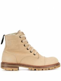 Chanel Pre-Owned ботинки с боковой нашивкой и шнуровкой G25364Y04243
