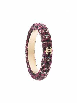Chanel Pre-Owned твидовый браслет-бэнгл с логотипом CC BR09A
