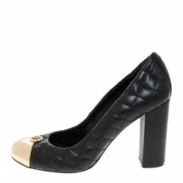 Tory Burch Black Quilted Leather Metal Cap Toe Pumps Size 38.5 286168