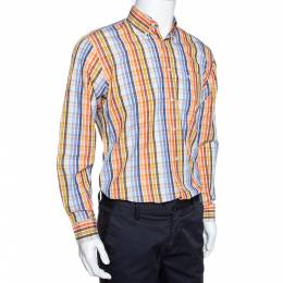 Burberry Multicolor Checked Cotton Button Down Long Sleeve Shirt S 289526