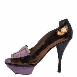 Marni Multicolor Patent Leather and Suede Cut Out Peep Toe Platform Pumps Size 37.5 289521