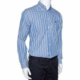 Burberry Blue Striped Cotton Button Down Long Sleeve Shirt S 289568