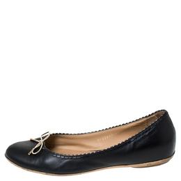 Salvatore Ferragamo Black/Gold Leather Bow Ballet Flats Size 40 289476